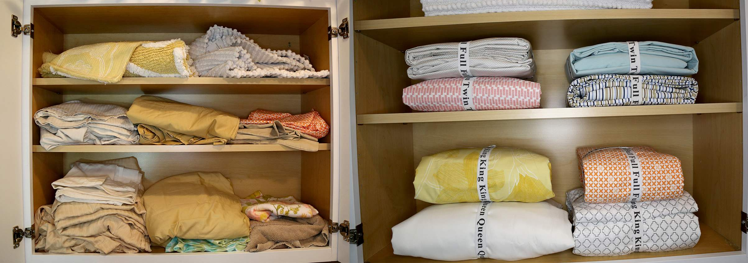 Sheets get mixed up and misplaced into disorganized piles. Sheet ID is the solution to organize your bed sheets and declutter your linen closets. Just fold, put the identifiable band around the sheet set, and ready for use next time with no mistakes!
